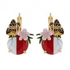 and flower on earrings