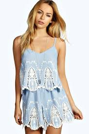 boohoo clothes madge cameo lace chambray playsuit boohoo