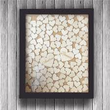 wedding guest book picture frame personalized wedding guest book frame rustic wooden hearts guest