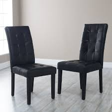 Leather Parson Dining Chairs Martha Bonded Leather Parsons Dining Chair Set Of 2 Hayneedle