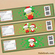 free printable christmas minions water bottle labels free