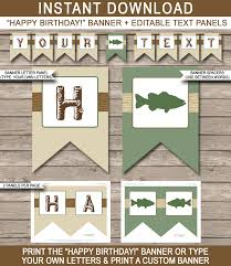 fishing party banner template birthday banner editable bunting