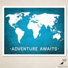 World Map Wall Poster by World Map Adventure Awaits Boys Room Wall Art Nursery