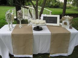 garden outdoor wedding dining table with double burlap table