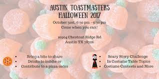 Table Topics Game by Austin Toastmaster Halloween 2017 Tickets Tue Oct 31 2017 At 6
