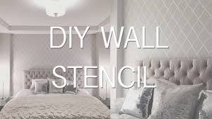how to stencil paint a wall diy wallpaper effect youtube