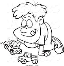 vector of a cartoon boy playing with toy cars coloring page