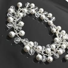crystal pearl bracelet swarovski images Crystal pearl bridal bracelet swarovski crystals pearls silver jpg