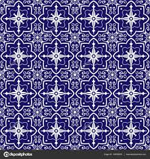 moroccan wrapping paper blue white tiles pattern vector with floral ornaments portuguese