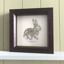Unusual Wall Art by Personalised Map Rabbit Gift Unusual Presents Butler And Hill