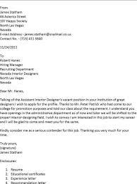 interior design assistant cover letter