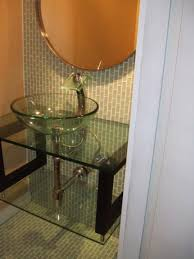 Wall Art For Powder Room - bathroom powder room vanity with glass bowl sink and glass table