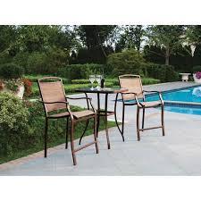 Outdoor Bistro Table Set Mainstays Sand Dune 3 Piece High Outdoor Bistro Set Seats 2