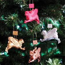 flying pug baubles set of four by pugs might fly
