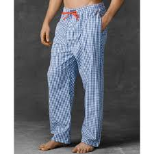 ralph polo mens gingham woven pajama in blue for