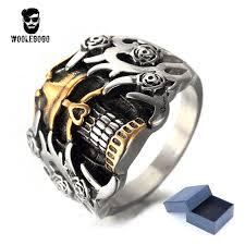 steel skull rings images Exaggerated flower skull rings men stainless steel gold skeleton jpg