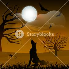 banner or background for halloween party night with silhouette of