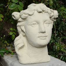 beautiful maiden garden container shaped like a human head made