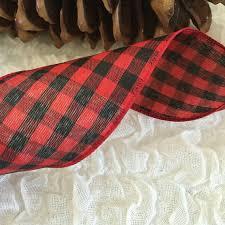 and black plaid ribbon 5 yards buffalo plaid ribbon black and plaid lumberjack ribbon