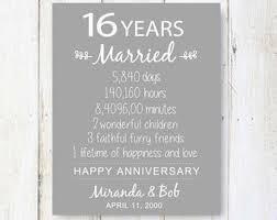 16th wedding anniversary gifts 16th anniversary etsy