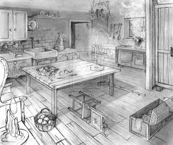 layout two points perspective old kitchen by