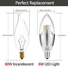 Led Chandelier Bulb Pack Of 3 Lohas Dimmable Led Candelabra Bulb 6 Watt 60 Watt