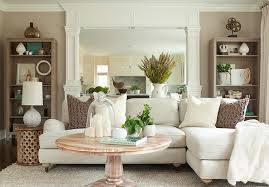 linen sectional transitional living room the elegant abode