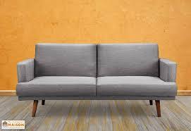 canapé convertible en lit canapé convertible lit en bois et gris clair dan 3 places
