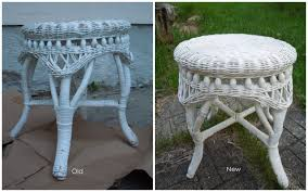 White Wicker Desk by Attractive White Wicker Stool For Garden With Shabby Chic Concrete