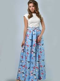 light blue casual a line butterflies printed maxi skirt stylewe com