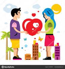 imagenes animadas sobre amor vector de pareja romántica dar amor día de san valentín