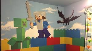 kids custom artwerk lego minecraft room mural