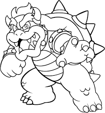 bowser coloring super mario bowser coloring pages print