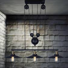 industrial pulley pendant light 3 heads lightings retro iron pulley pendant lights loft american