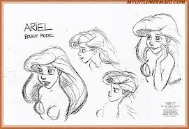 the little mermaid art gallery early drawings model keys color keys