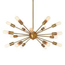 Ceiling Chandelier Lights Com Ceiling Chandeliers 18 Light Sputnik Aged Brass