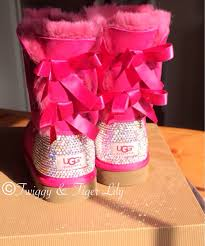 womens pink ugg boots with bows bailey bow pink ugg boots with swarovski embellishment