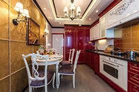 Red And White Kitchen by Luxurious Kitchen Design With Shiny Red And White Kitchen Cabinet