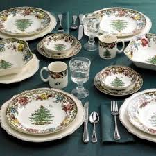spode woodland grove tree dinner plates set