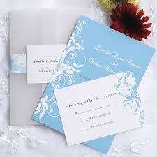 vintage light blue damask pocket wedding invitations ewpi058 as