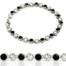 silver bracelet with black stones images Black stone iced out bracelet jpg