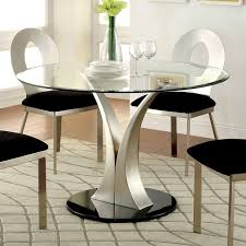 furniture of america sculpture iii contemporary glass top round