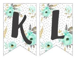 free printable alphabet banner mint u0026 gold six clever sisters