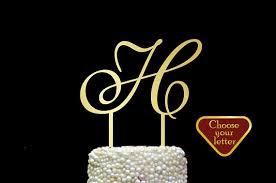 h cake topper letter h cake topper gold initial cake topper wedding cake