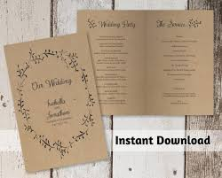 kraft paper wedding programs printable wedding program template rustic foliage winter wreath
