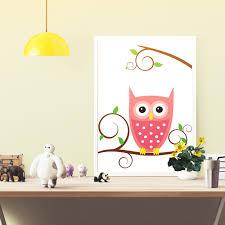 cute owl poster ideal for babies and kids room decor colorful