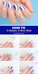 6 shades of blue nail art tutorial