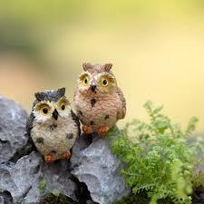 animaux resine jardin vente en gros moss terrarium décor cute owls animal résine