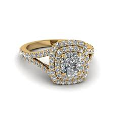 gold halo engagement rings cushion cut halo engagement ring in 18k yellow gold