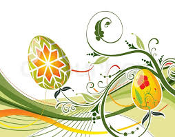 easter eggs with ornament on flower background with wave element